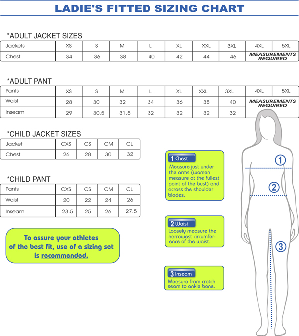Ladies fitted sizing chart